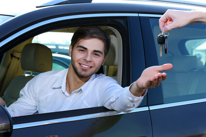 Young man in car
